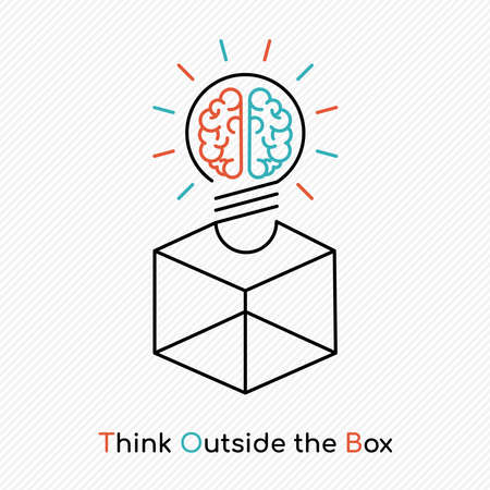Think outside the box, human brain light bulb concept illustration in simple outline style for business solution or creative thinking. Illustration