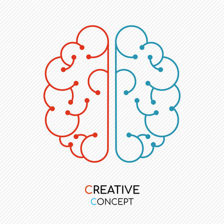 Creative thinking concept illustration of human brain in modern outline style. Illustration