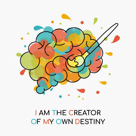I am the creator of my own destiny, life motivation quote with colorful splash over human brain. Coaching concept illustration. Ideal for career planning or personal goal.