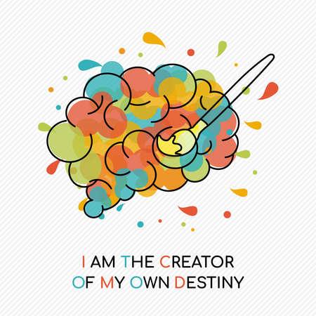 Ik ben de maker van mijn eigen lot, citaat over levensmotivatie met kleurrijke spetters over het menselijk brein. Coaching concept illustratie. Ideaal voor carrièreplanning of persoonlijk doel.