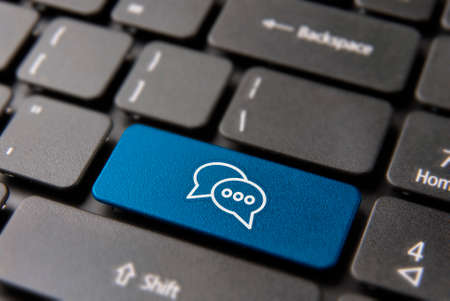 Social media chat keyboard button for live conversation concept. Talking bubbles icon key in blue color.