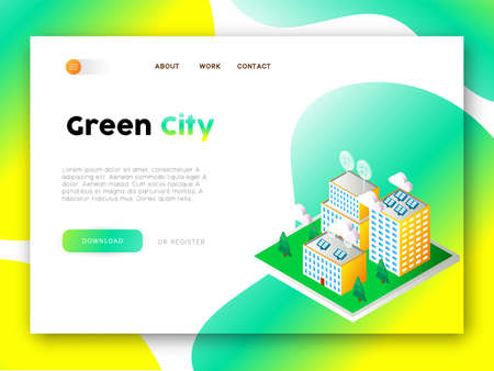 Internet site template for Eco friendly community Çizim