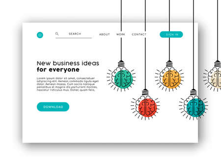 Web landing page for online app or business ideas. Internet website layout with concept background illustration.