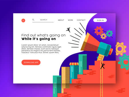 Web landing page template for news app and social network. Modern style internet layout with flat illustration background.