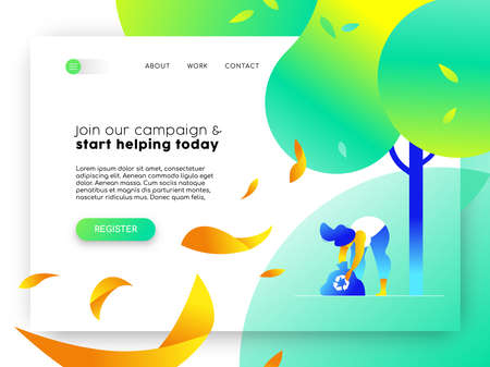 Landing page for environmental community campaign. Online internet template with illustration of girl recycling.