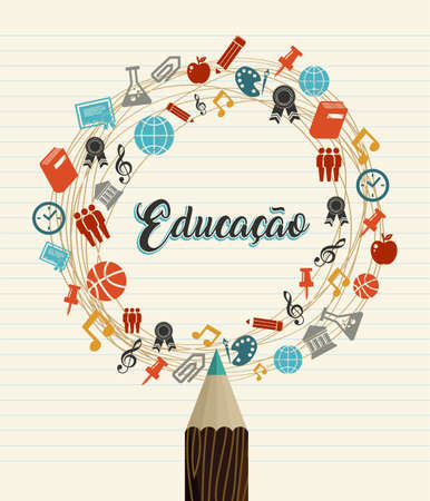 Back to School Portuguese language education quote. Color pencil and class subject icons on notebook paper background.