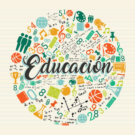 Back to school illustration in spanish language. Class subject icons with education text quote on notebook paper background.