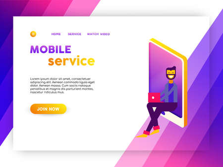 Social media network landing page for online web site. Mobile app internet template with illustration of man on mobile phone