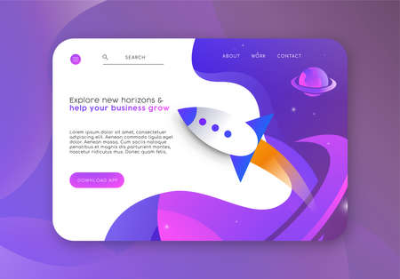 Web business start up landing page template. Online marketing layout with spaceship rocket illustration and app download button