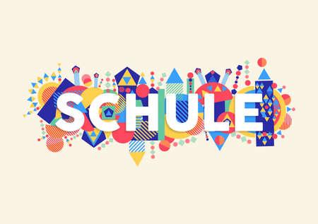 Cita de tipografía de educación en idioma alemán. Volver a la ilustración del concepto de escuela con decoración abstracta colorida.