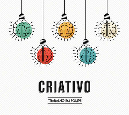 Creative teamwork modern design in portuguese language with human brains as colorful lamp light, business creativity concept.
