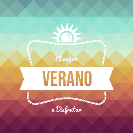 Summer vacation typography quote greeting card in spanish language. Vintage style holiday illustration.