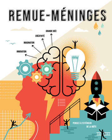 Brainstorming illustration in french language. Think outside the box, creative business ideas concept ideal for poster and print. EPS10 vector.