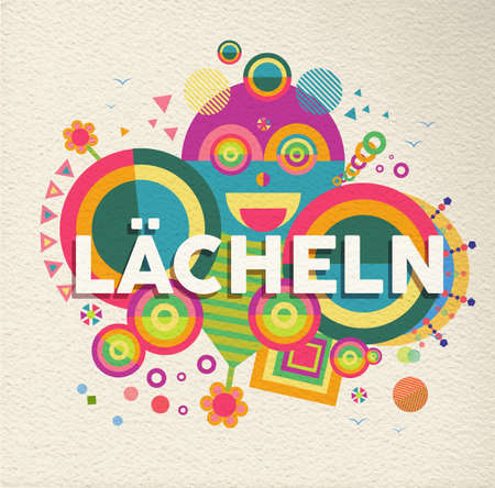 Smile colorful typography poster in german language. Positive motivation quote design with paper texture background. EPS10 vector.