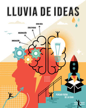 Brainstorming illustration in spanish language. Think outside the box, creative business ideas concept ideal for poster and print.