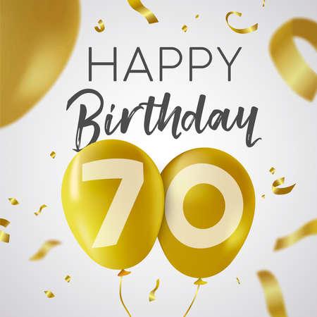 Gelukkige verjaardag 70 zeventig jaar, luxe design met gouden ballonnummer en gouden confetti-decoratie. Ideaal voor feestuitnodiging of wenskaart.