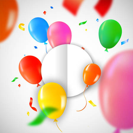 Birthday balloons with circle paper card template for special message. Colorful party confetti decoration and copy space