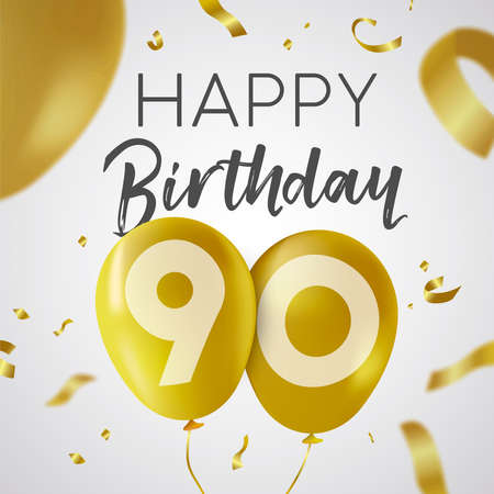 Happy Birthday 90 ninety years, luxury design with gold balloon number and golden confetti decoration. Ideal for party invitation or greeting card. Illustration