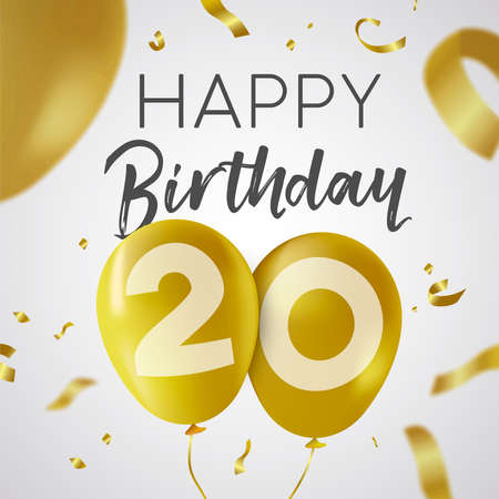 Happy Birthday 20 twenty years, luxury design with gold balloon number and golden confetti decoration. Ideal for party invitation or greeting card.