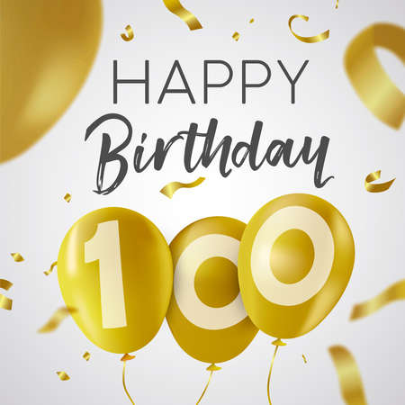 Happy Birthday 100 one hundred years, luxury design with gold balloon number and golden confetti decoration. Ideal for party invitation or greeting card.