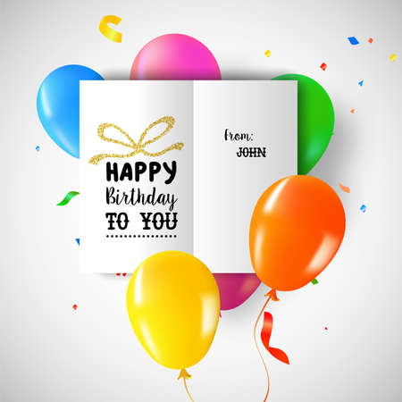 Happy Birthday greeting card on colorful party balloons and confetti background for special day. Illustration