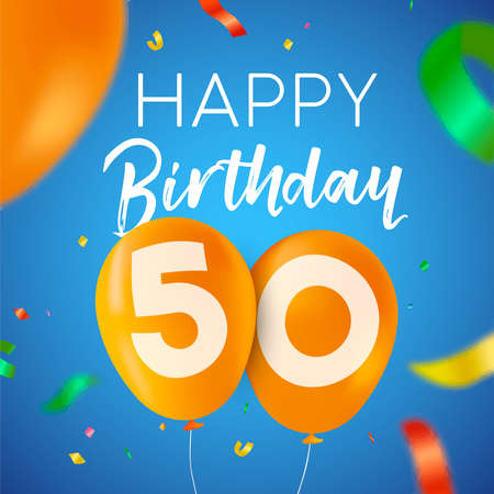 Happy Birthday 50 fifty years fun design with balloon number and colorful confetti decoration. Ideal for party invitation or greeting card.