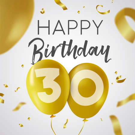 Happy Birthday 30 thirty years, luxury design with gold balloon number and golden confetti decoration. Ideal for party invitation or greeting card.