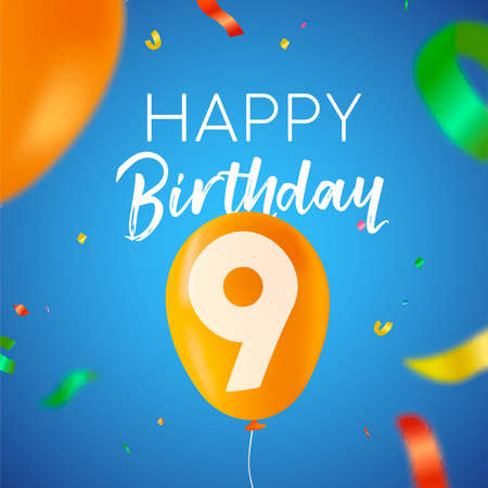 Happy Birthday 9 nine years fun design with balloon number and colorful confetti decoration. Ideal for party invitation or greeting card.