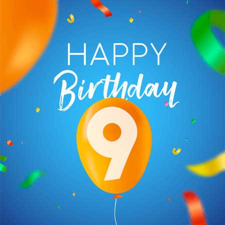 Gelukkige verjaardag 9 negen jaar leuk ontwerp met ballonnummer en kleurrijke confetti-decoratie. Ideaal voor feestuitnodiging of wenskaart.