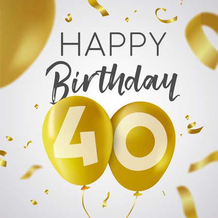 Gelukkige verjaardag 40 veertig jaar, luxe design met gouden ballonnummer en gouden confetti-decoratie. Ideaal voor feestuitnodiging of wenskaart.