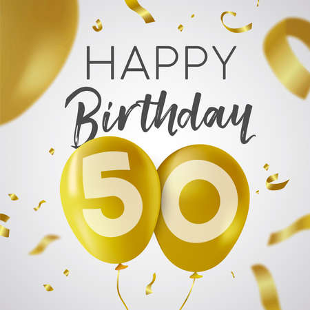 Happy Birthday 50 fifty years, luxury design with gold balloon number and golden confetti decoration. Ideal for party invitation or greeting card.