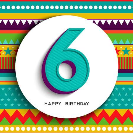 Buon compleanno sei 6 anni divertente design con numero, etichetta di testo e sfondo colorato. Ideale per invito a una festa o biglietto di auguri.