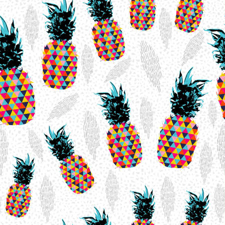Summer seamless pattern design, pineapple fruit with abstract colorful art ideal for fun fashion print paper or fabric.