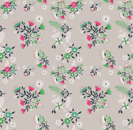 Floral seamless pattern illustration in retro art style. Wild flower and leaves vintage decoration background.