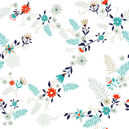 Floral seamless pattern illustration in retro art style. Wild flower and leaves vintage decoration background. Imagens - 102242189