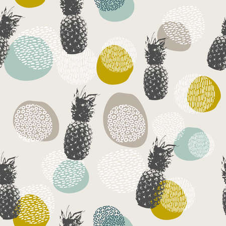 Pineapple fruit seamless pattern, summer food collage background in modern boho art style with hand drawn doodle decoration.