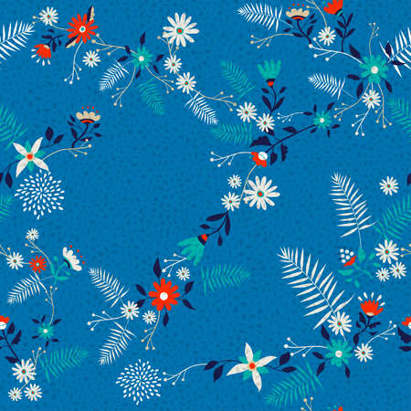 Floral seamless pattern art, traditional retro ditsy design with colorful spring flowers and leaves.