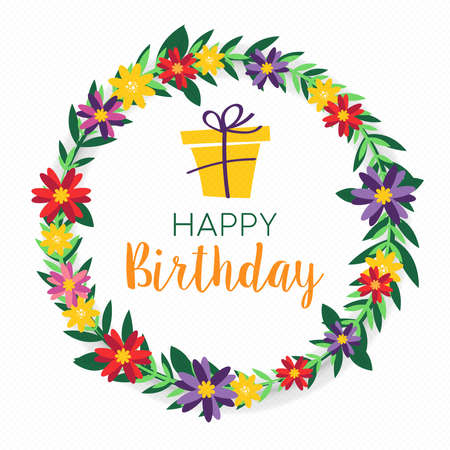 Happy Birthday design with colorful spring flower wreath and gift box background. Ideal for party invitation or greeting card. Ilustrace