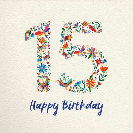 Happy Birthday 15 fifteen years design with number made of colorful spring flowers and animals on paper texture background. Ideal for party invitation or greeting card.