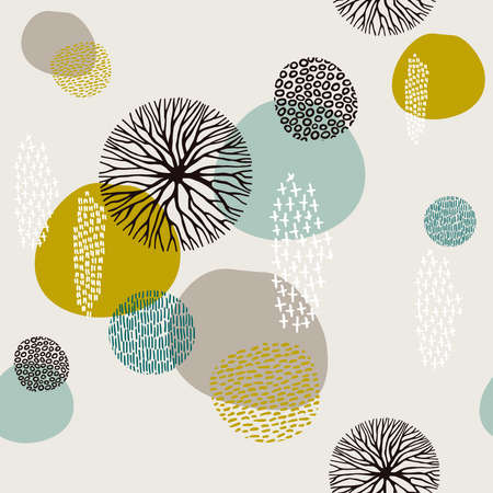 Abstract boho style seamless pattern background with tribal shape elements. Illustration