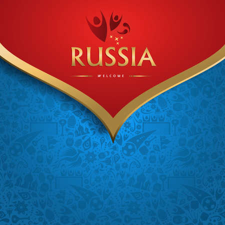Welcome to Russia traditional background template for special soccer event. Gold color russian decoration.