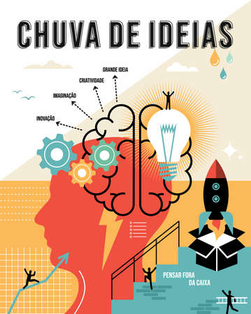 Brainstorming illustration in portuguese language. Think outside the box, creative business ideas concept ideal for poster and print