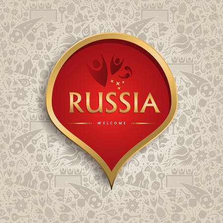 Welcome to Russia symbol texture background with gold decoration. Traditional russian culture template soccer event. 일러스트