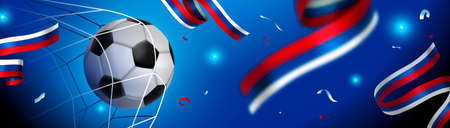 Soccer game championship for a Russia event banner. Russian flag decoration with football ball scoring goal.