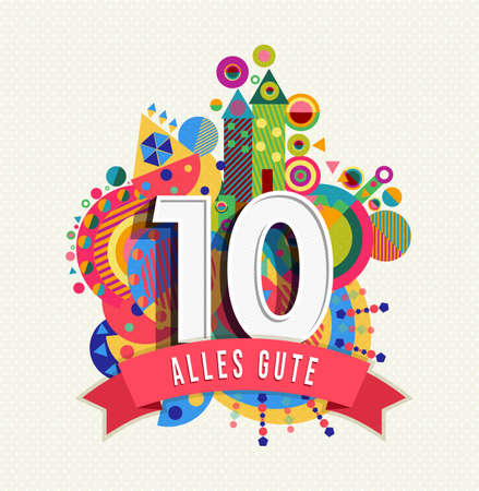 Happy Birthday ten 10 year decade fun design with number, text label and colorful geometry element in german language.