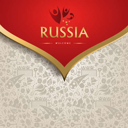 Welcome to Russia symbol texture background with gold decoration. Traditional russian culture template for soccer event. 일러스트