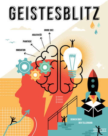 Brainstorming illustration in german language. Think outside the box, creative business ideas concept ideal for poster and print.