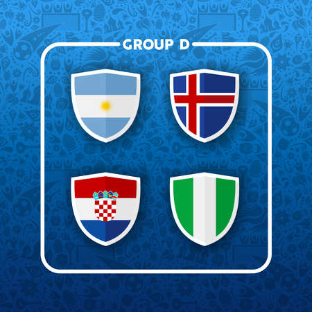 Soccer championship event schedule for 2018. Group D country team list of football match games. Includes Argentina, Iceland, Croatia and Nigeria.