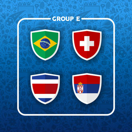 Soccer championship event schedule for 2018. Group E country team list of football match games. Includes Brazil, Costa Rica, Serbia and Switzerland.