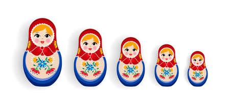 Reeks Russisch poppenspeelgoed dat op witte achtergrond wordt geïsoleerd. Nestelende matrioska-meisjesfamilie, souvenir uit Rusland in hand getrokken bloemenjurk. Vector Illustratie